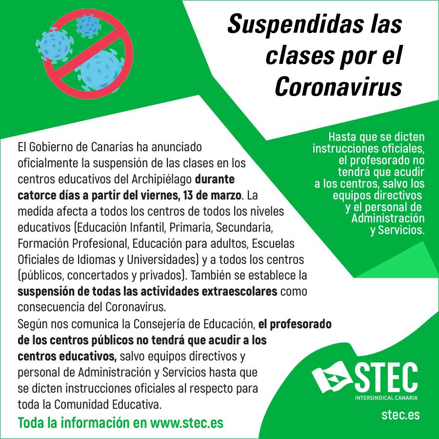 Stec Ic El Gobierno De Canarias Suspende Las Clases Por El Coronavirus Durante Dos Semanas