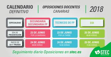 Calendario Definitivo Oposiciones 2018