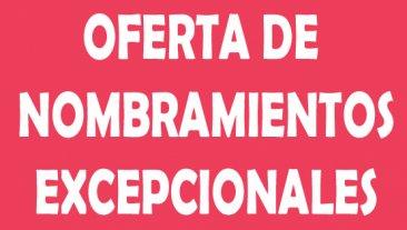 Oferta pública de nombramientos excepcionales para Secundaria y Otros Cuerpos
