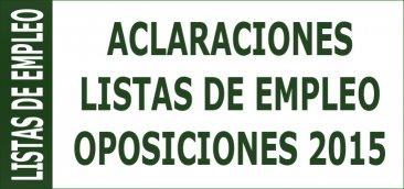 Aclaraciones constitución Listas de Empleo derivadas de las oposiciones 2015
