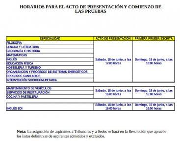 Horarios presentación y comienzo de las pruebas Oposiciones 2016