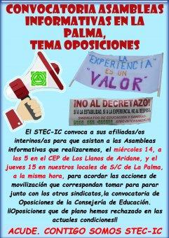 El STEC-IC en La Palma convoca asambleas del profesorado interino