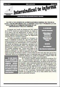 Boletín Informativo número 60 del STEC-IC Universidad
