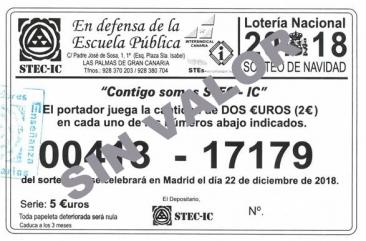 Lotería de Navidad 2018 del STEC-IC