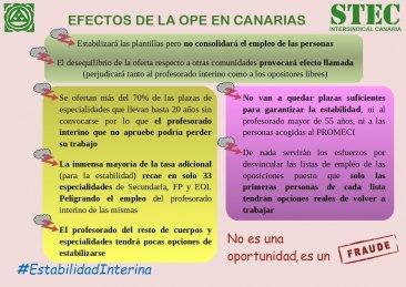 Efectos de la OPE 2018 (el STEC-IC convocará asambleas en enero)