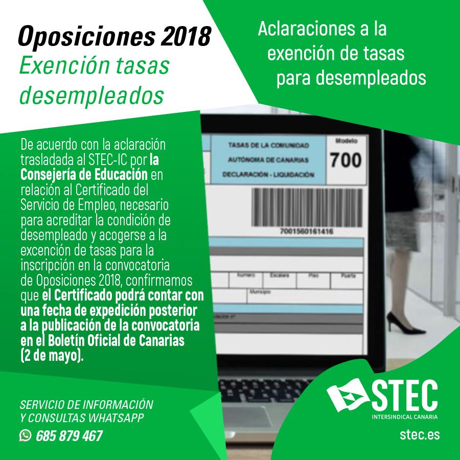 STEC-IC - Aclaración a la exención de tasas para desempleados para ...