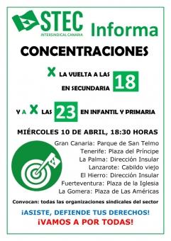 Concentraciones por la vuelta a las 18 horas lectivas en Secundaria y a por las 23 en Infantil y Primaria