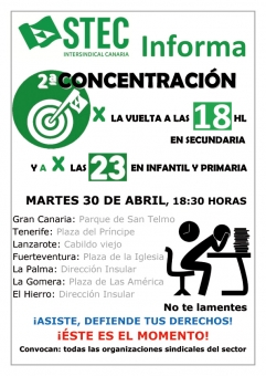 30 de abril: Convocatoria de concentraciones por la vuelta a las 18 horas en Secundaria y a por las 23 en Infantil y Primaria