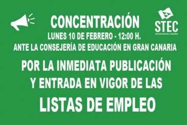 CONCENTRACIÓN POR LA INMEDIATA PUBLICACIÓN Y ENTRADA EN VIGOR DE LAS LISTAS DE EMPLEO