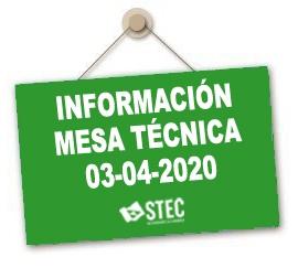 Información Mesa Técnica de negociación celebrada el día 3 de abril