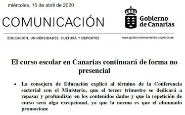 El curso escolar en Canarias continuará de forma no presencial según nota oficial