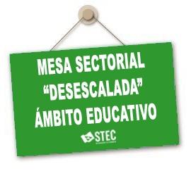 Información Mesa Sectorial del martes 12 de mayo sobre la desescalada en Educación