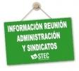 Información reunión Administración sindicatos 15 de mayo 2020