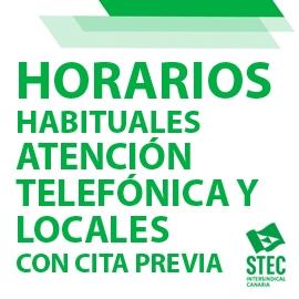 Horarios habituales de atención telefónica o en locales con cita previa