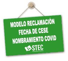Modelo reclamación fecha de cese Nombramientos COVID