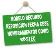 Modelo de Recurso de Reposición ante desestimación reclamación previa a la fecha de cese Nombramientos COVID