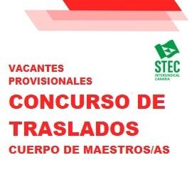 Vacantes provisionales Concurso de Traslados maestros/as