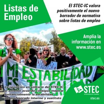 El STEC-IC valora positivamente el nuevo borrador de normativa sobre listas de empleo