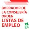 Borrador integro de la orden de gestión de Listas de Empleo en negociación