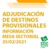 Mesa Sectorial 25/02/2021 Adjudicación de destinos provisionales para el curso 2021-2022