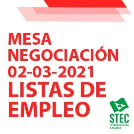 Mesa de Negociación 02-03-2021 sobre nueva normativa de Listas de Empleo