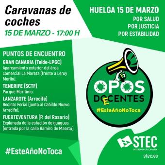 Súmate a las caravanas de coches convocadas por el STEC-IC para el 15 de marzo