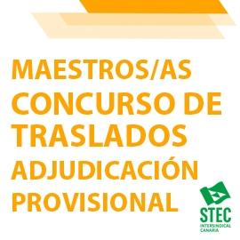 Adjudicación Provisional Concurso General de Traslados 2020-2021: Maestros/as