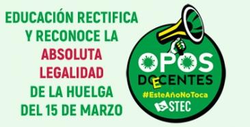 Educación rectifica y reconoce la legalidad de la huelga convocada por el STEC-IC para el lunes 15M