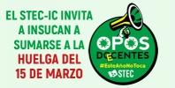 El STEC-IC invita formalmente a INSUCAN a apoyar la huelga del próximo lunes 15M