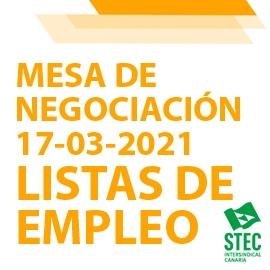 Mesa de Negociación 17-03-2021 sobre Listas de Empleo