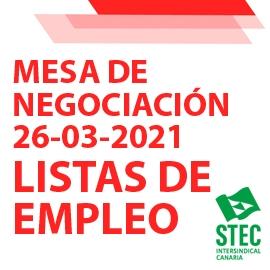 Información Mesa de Negociación 26-03-2021 sobre Listas de Empleo