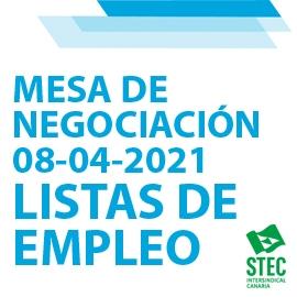 Información Mesa de Negociación 08-04-2021 sobre Listas de Empleo