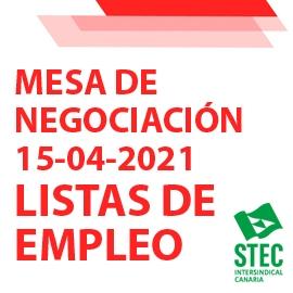 Información Mesa de Negociación 15-04-2021 sobre Listas de Empleo
