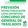 Fechas previstas para la publicación de las listas definitivas del Concurso de Traslados