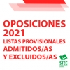 OPOSICIONES 2021: Listas provisionales de admitidos/as y excluidos/as