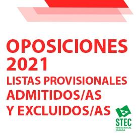 OPOSICIONES 2021: Listas provisionales de admitidos/as y excluidos/as