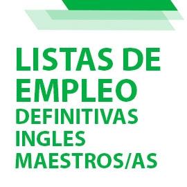 Ampliación de Listas de Empleo: definitivas de Inglés cuerpo de maestros/as