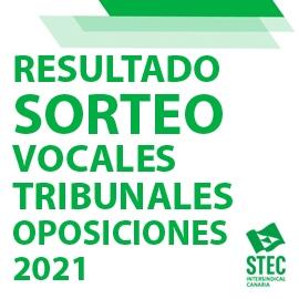 Resultado sorteo vocales tribunales Oposiciones 2021