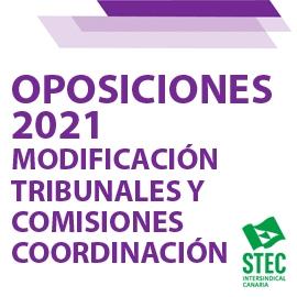 OPOSICIONES 2021: Modificación composición determinados Tribunales y Comisiones de Coordinación