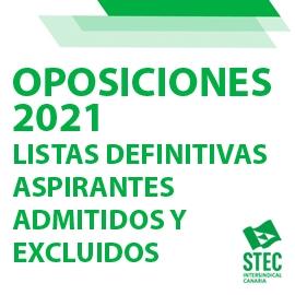 OPOSICIONES 2021: Listas definitivas de personas aspirantes admitidas y excluidas