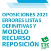OPOSICIONES 2021: Errores Listas definitivas y modelo Recurso de Reposición