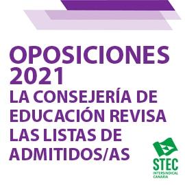 OPOSICIONES 2021: La Consejería de Educación está revisando las listas definitivas de admitidos/as