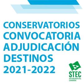 Convocatoria Adjudicación de Destinos Provisionales Conservatorios curso 2021-2022