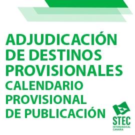 Calendario previsto Adjudicación de Destinos Provisionales curso 2021-2022