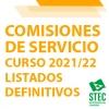 COMISIONES DE SERVICIO 2021-2022: Listado definitivo de admitidos, excluidos y renuncias