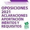 OPOSICIONES 2021: Aclaraciones para la aportación de méritos y requisitos