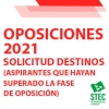 OPOSICIONES 2021: Solicitud de destino para los aspirantes que han superado la fase de oposición