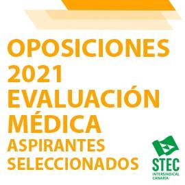 OPOSICIONES 2021: Evaluación médica personas aspirantes seleccionadas
