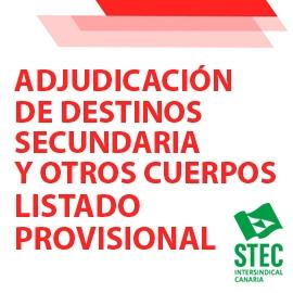 Adjudicación provisional destinos curso 2021/2022 Funcionarios/as de Carrera Secundaria y Otros Cuerpos