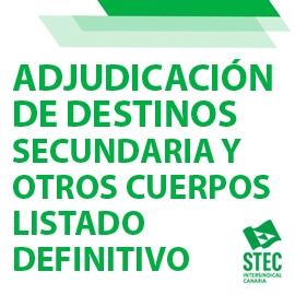 Adjudicación de destinos definitiva curso 2021/2022 Funcionarios/as de Carrera Secundaria y Otros Cuerpos